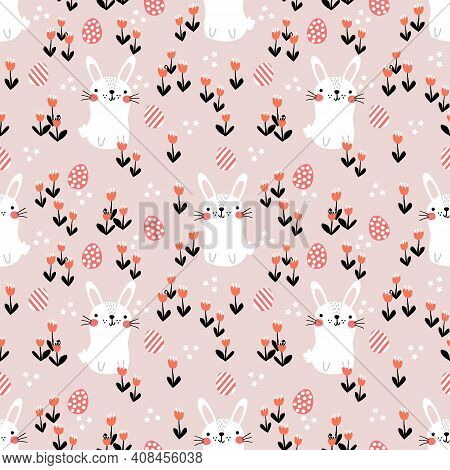 Lovely Bunny, Easter Egg And Flower Seamless Pattern