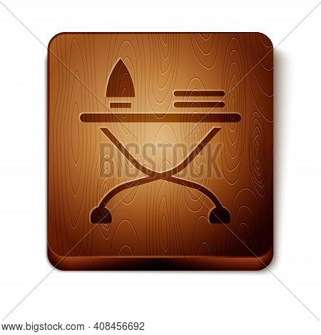 Brown Electric Iron And Ironing Board Icon Isolated On White Background. Steam Iron. Wooden Square B