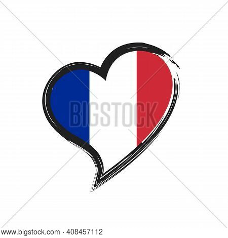 France Love Heart Grunge Icon Isolated On White Background. Love France Flag. Travel France. Vector