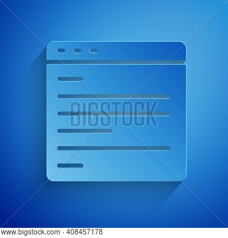 Paper Cut Computer Api Interface Icon Isolated On Blue Background. Application Programming Interface
