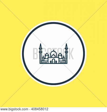 Vector Illustration Of Minaret Icon Line. Beautiful World Landmarks Element Also Can Be Used As Shei