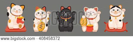 Maneki Neko Vector Set Isolated On Brown Background. Lucky Cat In Japanese Traditional Culture. Tali