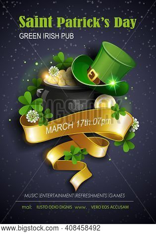 St. Patrick's Day Traditions And Symbols Party Flyer, Brochure, Invitations Template. Leprechaun Hat
