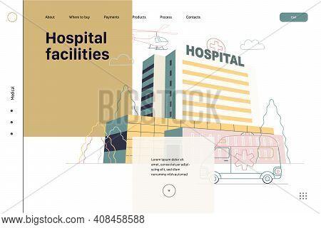 Medical Insurance - Hospital Facilities And Services - Modern Flat Vector Concept Digital Illustrati