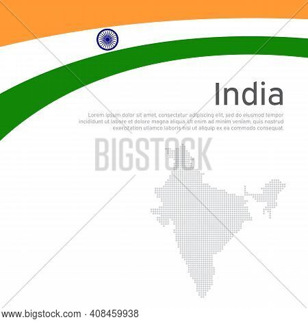 Abstract Waving Flag Of India. Creative Background For India Patriotic Holiday Card Design. National