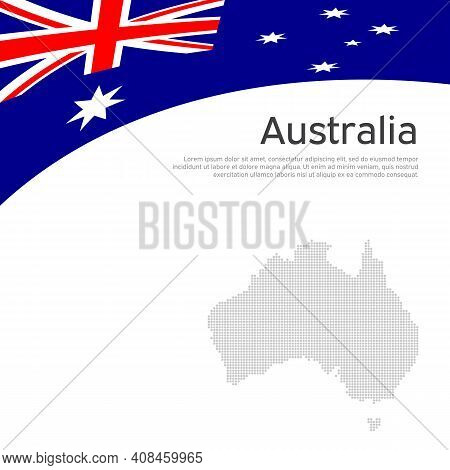 Australia Flag, Mosaic Map On A White Background. National Poster Design. Business Booklet. State Au