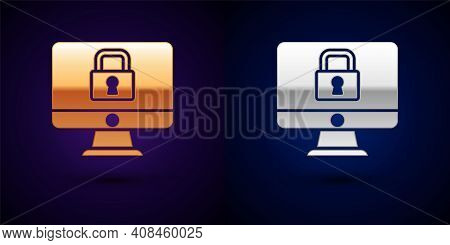 Gold And Silver Lock On Computer Monitor Screen Icon Isolated On Black Background. Security, Safety,