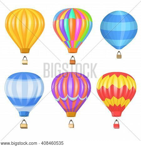 Bright Colorful Air Balloon Flat Pictures Set. Cartoon Flying Baskets And Balloons With Hot Air Isol