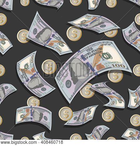 100 Dollar Bills, Coins. Vector Money Background. Hundred Dollar Bills, Coins Are Flying. Seamless P