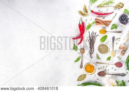 Fresh Herbs, Dried Colorful Spices