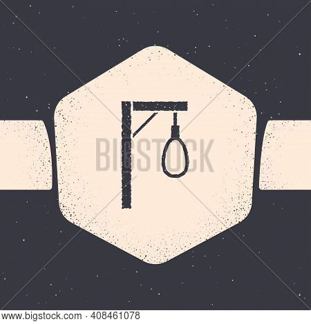 Grunge Gallows Rope Loop Hanging Icon Isolated On Grey Background. Rope Tied Into Noose. Suicide, Ha