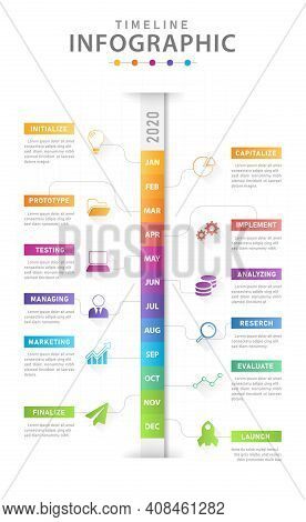 Infographic Template For Business. Modern Timeline Diagram Calendar With Grantt Chart, Presentation
