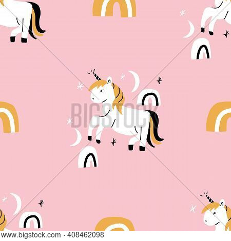 Girly Simple Pink Black And White And Gold Seamless Repeat Pattern Of Unicorn With Rainbows And Star