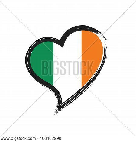 Ireland Love Heart Grunge Icon Isolated On White Background. Love Ireland Flag. Travel Ireland. Vect