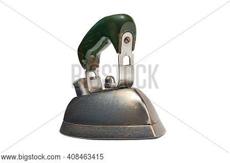 Old Iron Isolated On White Background. Electric Iron For Ironing. Old Household Appliances. Selectiv