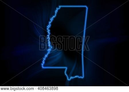 Glowing Map Of Mississippi, Modern Blue Outline Map, On Dark Background