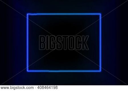 Glowing Map Of Wyoming, Modern Blue Outline Map, On Dark Background