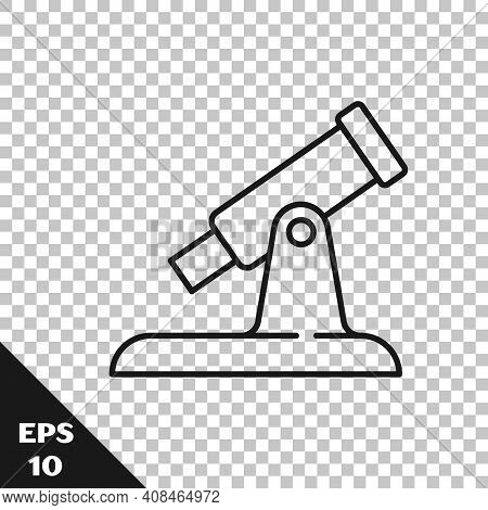 Black Line Telescope Icon Isolated On Transparent Background. Scientific Tool. Education And Astrono