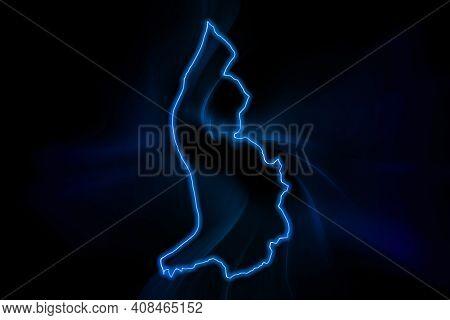 Glowing Map Of Liechtenstein, Modern Blue Outline Map, On Dark Background