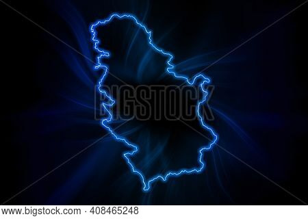Glowing Map Of Serbia, Modern Blue Outline Map, On Dark Background