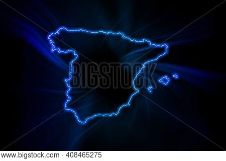 Glowing Map Of Spain, Modern Blue Outline Map, On Dark Background
