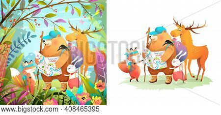 Animals Nature Adventure For Kids, Forest Scout Animal Characters Hiking And Exploring. Bear, Fox, D