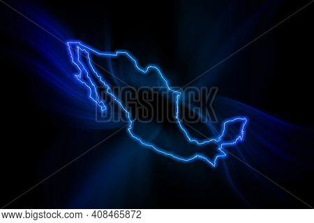 Glowing Map Of Mexico, Modern Blue Outline Map, On Dark Background