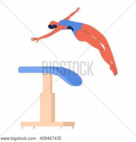 Woman Jumping Over Vaulting Table Or Horse Apparatus During Vault Gymnastics Performance. Sport Char
