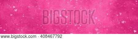 An illustration of a wide modern pink hearts background banner