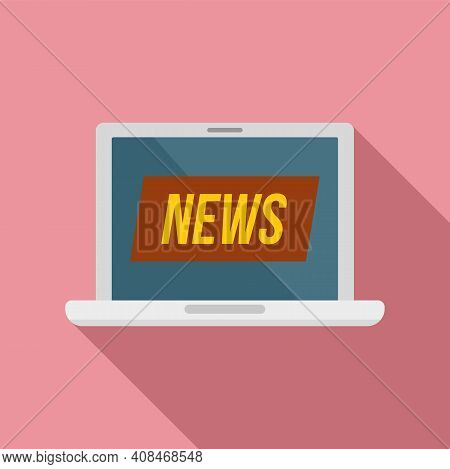 Laptop Tv News Icon. Flat Illustration Of Laptop Tv News Vector Icon For Web Design