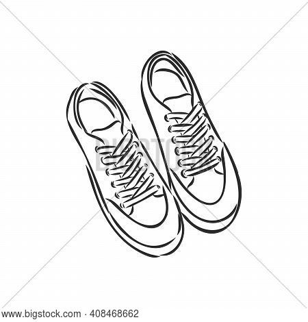 Sneakers. Vector Hand Drawn Illustration. Sketch Style. Isolated On White. Sneakers, Vector Sketch O