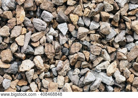 Stone Construction  Crushed Stone Close-up. Textures Crushed Rock.