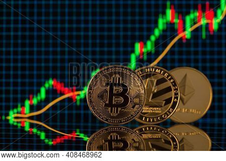 Close Up Photo Of Bitcoin Litecoin And Etherium Cryptocurrency Standing Over The Background With Dig