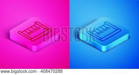 Isometric Line Pendulum Icon Isolated On Pink And Blue Background. Newtons Cradle. Square Button. Ve