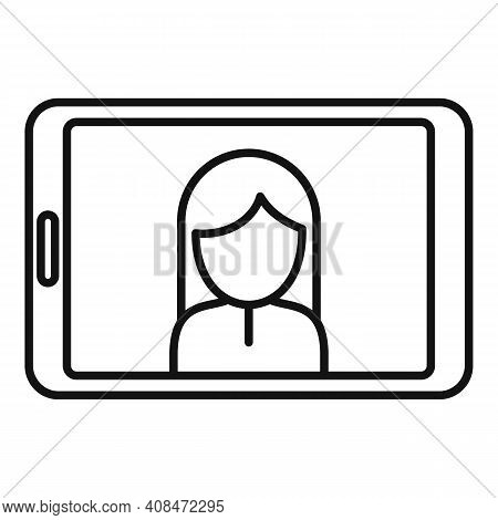 Tv Presenter Tablet Icon. Outline Tv Presenter Tablet Vector Icon For Web Design Isolated On White B