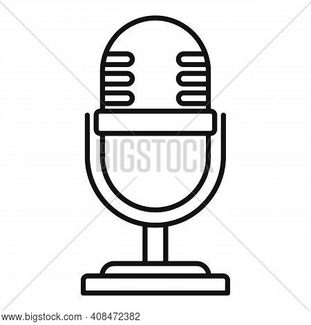 Tv Studio Microphone Icon. Outline Tv Studio Microphone Vector Icon For Web Design Isolated On White