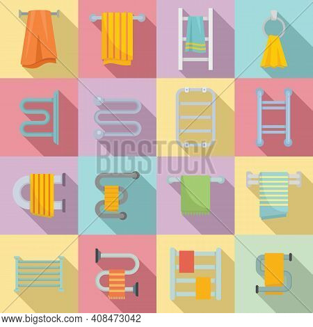 Heated Towel Rail Icons Set. Flat Set Of Heated Towel Rail Vector Icons For Web Design