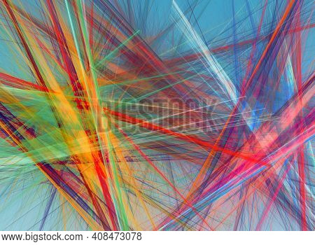 Random Chaotic Lines Abstract Geometric Pattern  Texture. Modern, Contemporary Art-like Illustration