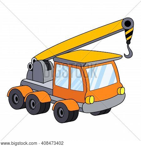 Machine With Lifting Crane Icon. Cartoon Of Machine With Lifting Crane Vector Icon For Web Design Is