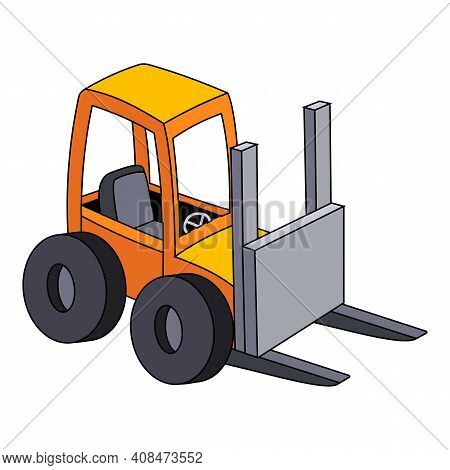 Forklift Icon. Cartoon Of Forklift Vector Icon For Web Design Isolated On White Background