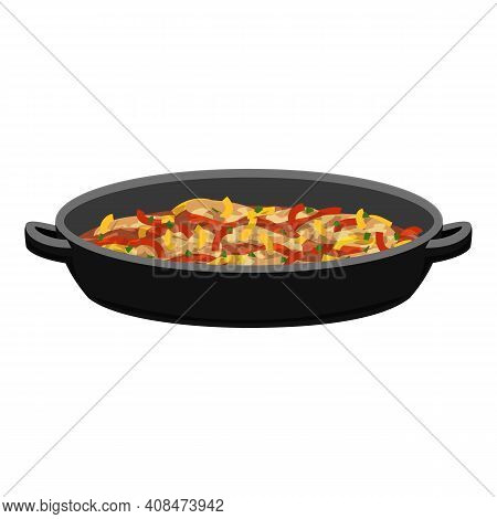 Stewed Vegetables Icon. Cartoon Of Stewed Vegetables Vector Icon For Web Design Isolated On White Ba