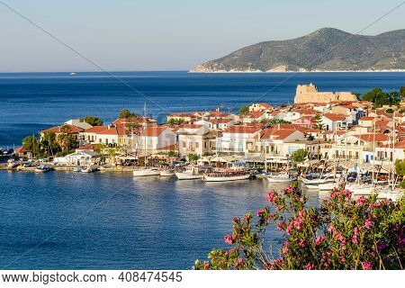 Samos Island, Greece - May 23, 2017: Beautiful Aerial View Of Pythagorion Village, Traditional Greek