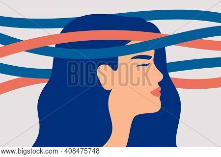 Sad Woman With Nervous Problems Feels Anxiety And Confused Thoughts. Mental Illness And Bipolar Diso