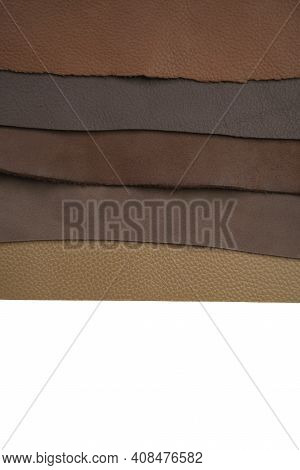 Brown Real Leather Mixed Isolated On White Background.natural Leather Texture Close-up.material For