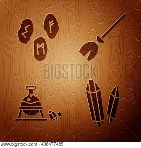 Set Magic Stone, Magic Runes, Witch Cauldron And Magic Stone And Witches Broom On Wooden Background.