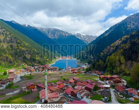 Drone View To The Uzungol Lake Famous Tourist Destination In City Of Trabzon Turkey