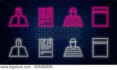 Set Line Lawsuit Paper, Prisoner, Anonymous With Question Mark And Plastic Bag With Ziplock. Glowing