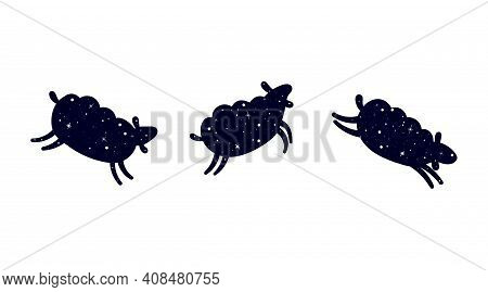 Three Jumping Sheep. Dark Silhouette Of A Sheep. Sheep In A Pattern Of Shining Stars. Flat Vector Il