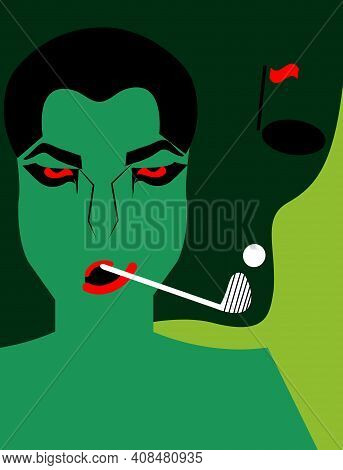 Illustration Of A Green Man Smoking For The Idea Of A Man Playing Golf