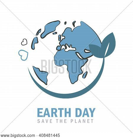 Earth Day Globe Environmentalism Symbol With Green Leaves Vector Illustration Eps10